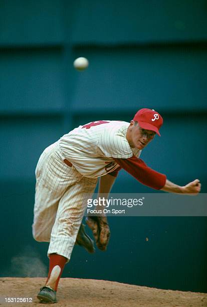 Pitcher Jim Bunning of the Philadelphia Phillies pitches during a circa 1964 Major League Baseball game at Connie Mack Stadium in Philadelphia...