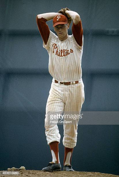 Pitcher Jim Bunning of the Philadelphia Phillies pitches during a Major League Baseball game circa 1964 at Connie Mack Stadium in Philadelphia...