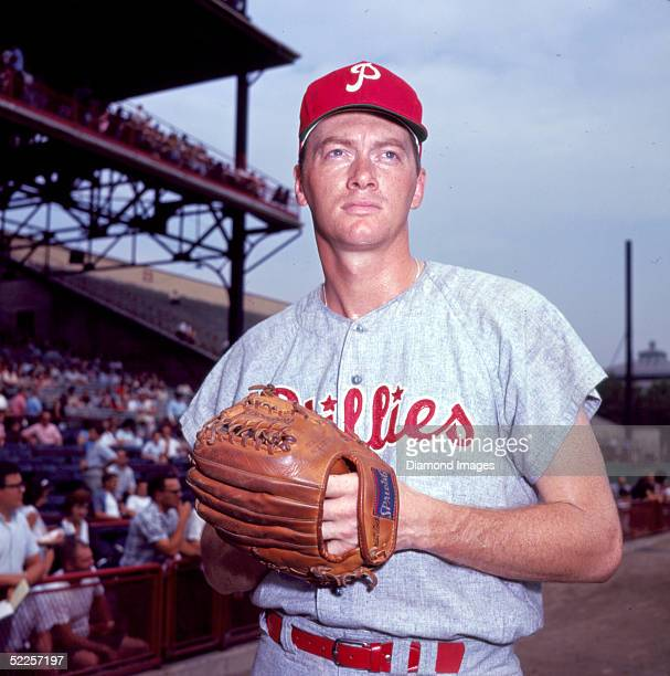 Pitcher Jim Bunning of the Philadelphia Phillies poses for a portrait prior to a 1966 game against the Cincinnati Reds at Crosley Field in Cincinnati...