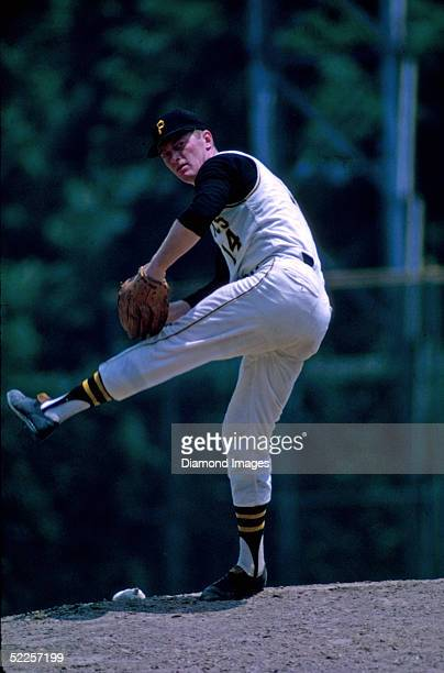 Pitcher Jim Bunning of the Pittsburgh Pirates pitches during a 1968 season game at Forbes Field in Pittsburgh Pennsylvania