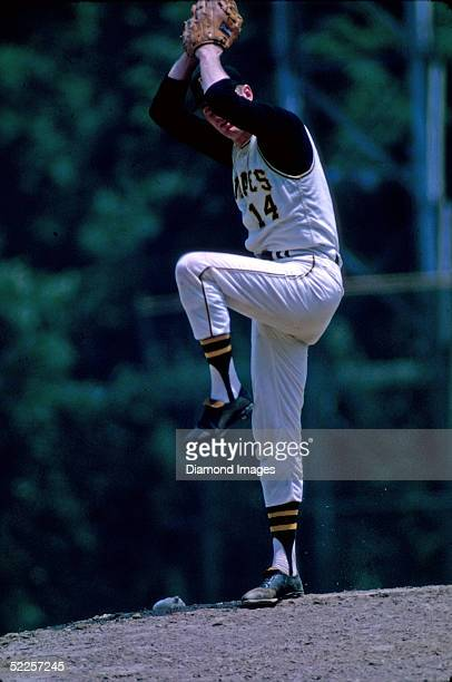 Pitcher Jim Bunning of the Pittsburgh Pirates winds up a pitch during a 1968 season game at Forbes Field in Pittsburgh Pennsylvania