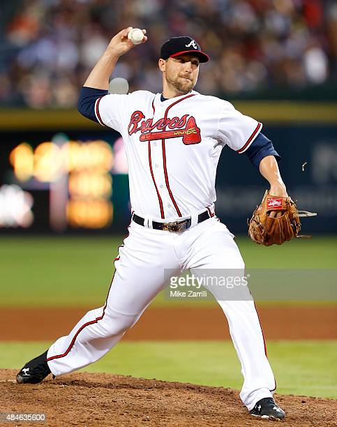 Pitcher Jim Johnson of the Atlanta Braves throws a pitch during the game against the Philadelphia Phillies at Turner Field on July 3 2015 in Atlanta...
