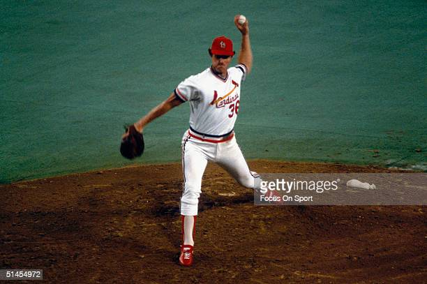 Pitcher Jim Kaat of the St Louis Cardinals pitches during the World Series against the Milwaukee Brewers at Busch Stadium on October 1982 in St Louis...