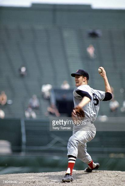 Pitcher Jim Lonborg of the Boston Red Sox throws a pitch during the first game of a doubleheader on July 23 1967 against the Cleveland Indians at...