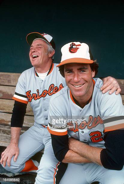 Pitcher Jim Palmer and manager Earl Weaver of the Baltimore Orioles laughing in this photo before a Major League Baseball game circa 1978. Palmer...