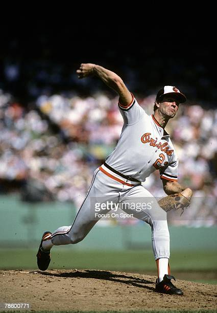 Pitcher Jim Palmer of the Baltimore Orioles pitches against the Boston Red Sox during circa mid 1970s Major League Baseball game at Fenway Park in...