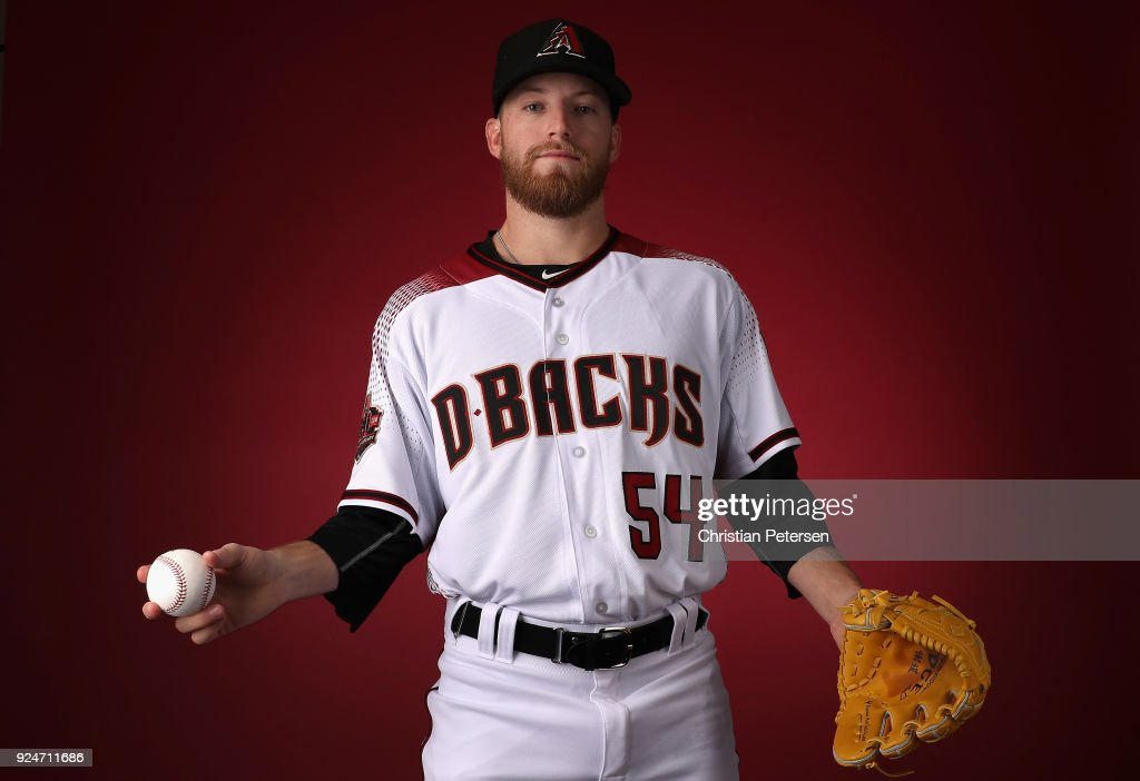 Pitcher Jimmie Sherfy #54 of the Arizona Diamondbacks poses for a portrait during photo day at Salt River Fields at Talking Stick on February 20, 2018 in Scottsdale, Arizona.