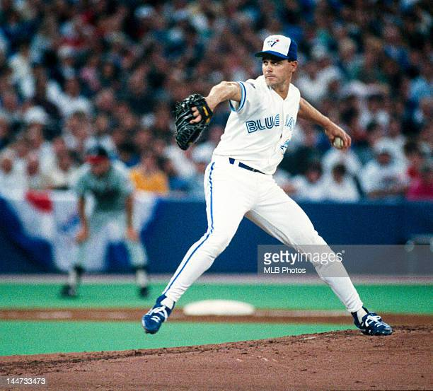 Pitcher Jimmy Key of the Toronto Blue Jays delivers a pitch during Game Four of the 1992 World Series against the Atlanta Braves at the Skydome on...
