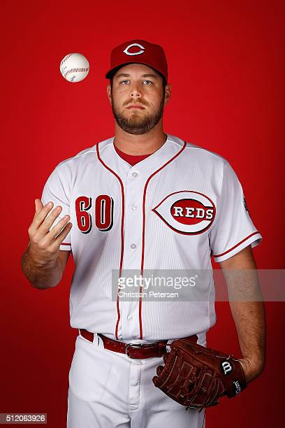 Pitcher JJ Hoover of the Cincinnati Reds poses for a portrait during spring training photo day at Goodyear Ballpark on February 24 2016 in Goodyear...