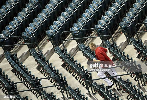 Pitcher J.J. Putz of the Arizona Diamondbacks runs the stairs before Game Four of the National League Division Series against the Milwaukee Brewers...