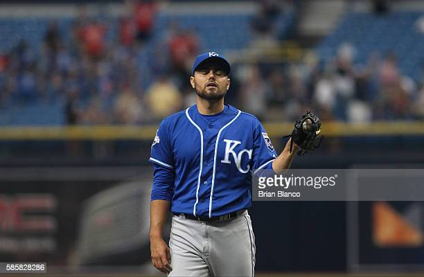 Pitcher Joakim Soria of the Kansas City Royals reacts after giving up a threerun home run to Brad Miller of the Tampa Bay Rays during the eighth...