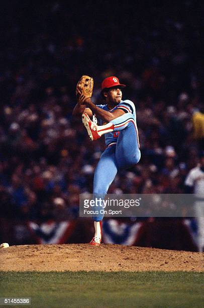 Pitcher Joaquin Andujar of the St Louis Cardinals goes into his windup during the World Series against the Milwaukee Brewers at County Stadium in...