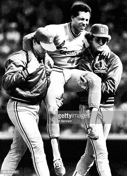 Pitcher Joaquin Andujar of the St. Louis Cardinals is carried off the field after being hit by a line drive off the bat of Ted Simmons of the...