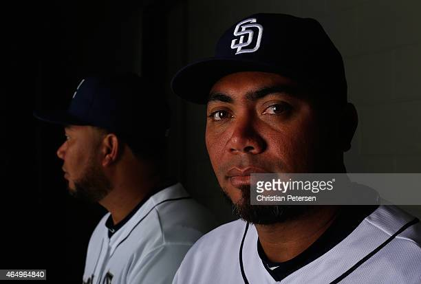 Pitcher Joaquin Benoit of the San Diego Padres poses for a portrait during spring training photo day at Peoria Stadium on March 2 2015 in Peoria...