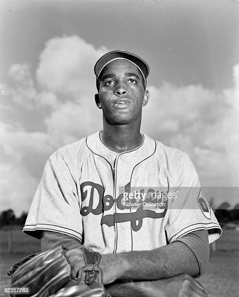 Pitcher Joe Black of the Brooklyn Dodgers poses for a portrait during Spring Training in March 1951 in Vero Beach Florida Black played for the...