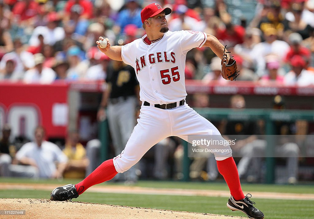 Pitcher Joe Blanton #55 of the Los Angeles Angels of Anaheim pitches in the second inning during the MLB game against the Pittsburgh Pirates at Angel Stadium of Anaheim on June 23, 2013 in Anaheim, California.