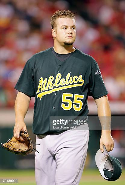 Pitcher Joe Blanton of the Oakland Athletics looks on as he walks to the dugout during a game against the Los Angeles Angels of Anaheim at Angel...
