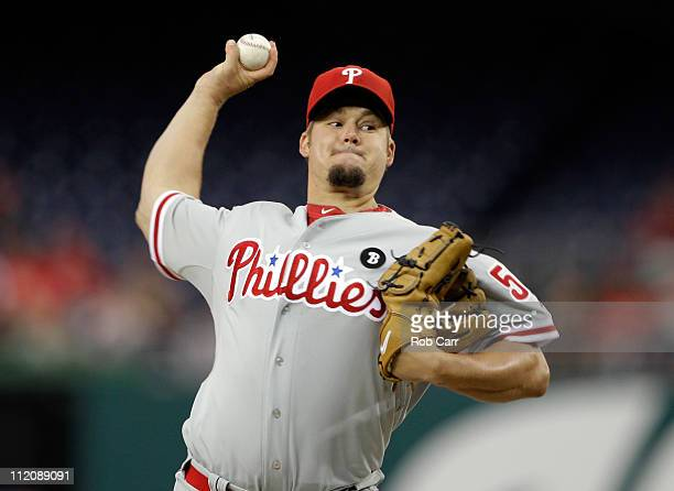 Pitcher Joe Blanton of the Philadelphia Phillies delivers to a Washington Nationals batter during the second inning at Nationals Park on April 12...