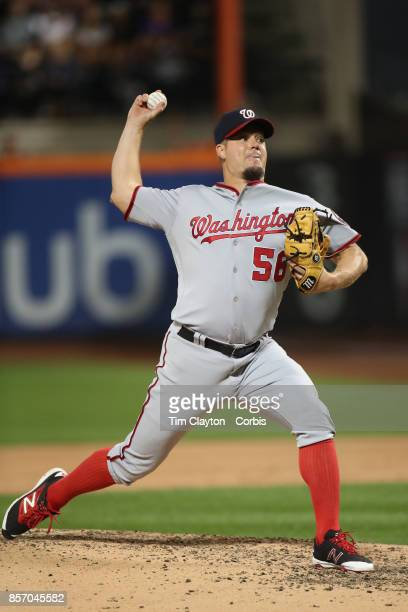 Pitcher Joe Blanton of the Washington Nationals pitching during the Washington Nationals Vs New York Mets MLB regular season game at Citi Field...