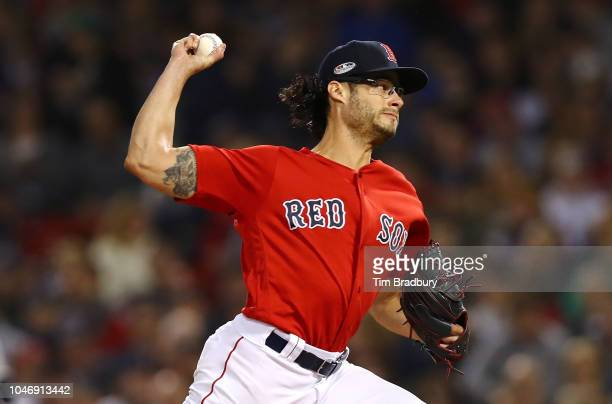 Pitcher Joe Kelly of the Boston Red Sox pitches during the third inning of Game Two of the American League Division Series against the New York...