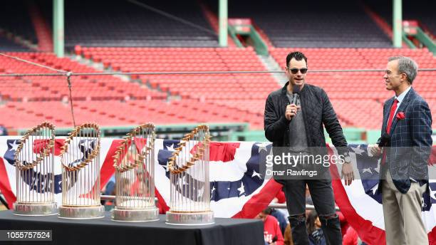 Pitcher Joe Kelly of the Boston Red Sox talks with NESN's Tom Caron at Fenway Park before the Boston Red Sox Victory Parade around Boston on October...