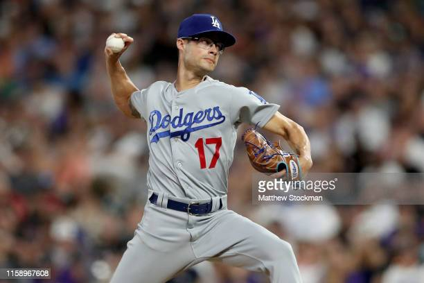 Pitcher Joe Kelly of the Los Angeles Dodgers throws in the fifth inning against the Colorado Rockies at Coors Field on June 28, 2019 in Denver,...