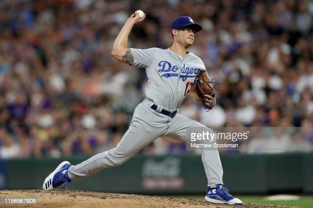 Pitcher Joe Kelly of the Los Angeles Dodgers throws in the fifth inning against the Colorado Rockies at Coors Field on June 28 2019 in Denver Colorado