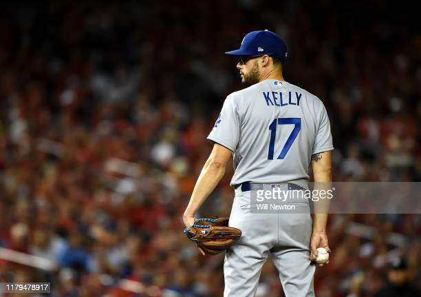 Pitcher Joe Kelly of the Los Angeles Dodgers waits to pitch in the sixth inning of Game 3 of the NLDS against the Washington Nationals at Nationals...
