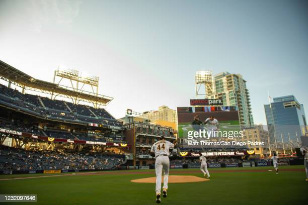 Pitcher Joe Musgrove of the San Diego Padres takes the field for his first career start for the Padres against the Arizona Diamondbacks at Petco Park...
