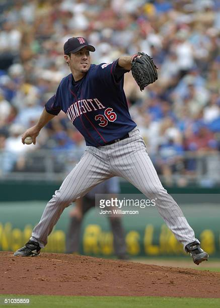 Pitcher Joe Nathan of the Minnesota Twins delivers against the Kansas City Royals during the game at Kauffman Stadium on May 30 2004 in Kansas City...