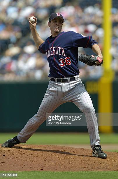 Pitcher Joe Nathan of the Minnesota Twins pitches during the MLB game against the Kansas City Royals at Kauffman Stadium on July 17 2004 in Kansas...