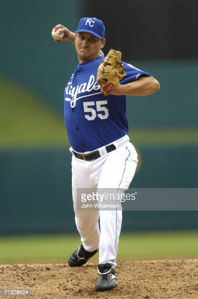 Pitcher Joe Nelson of the Kansas City Royals pitches during the game against the Toronto Blue Jays at Kauffman Stadium on July 9 2006 in Kansas City...