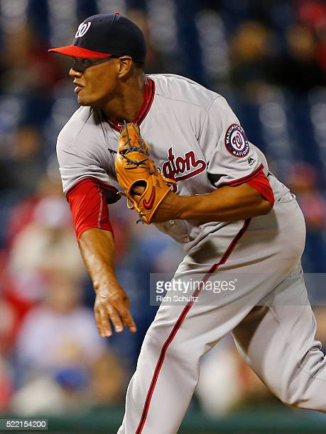 Pitcher Joe Ross of the Washington Nationals delivers a pitch against the Philadelphia Phillies in an MLB game at Citizens Bank Park on April 15 2016...