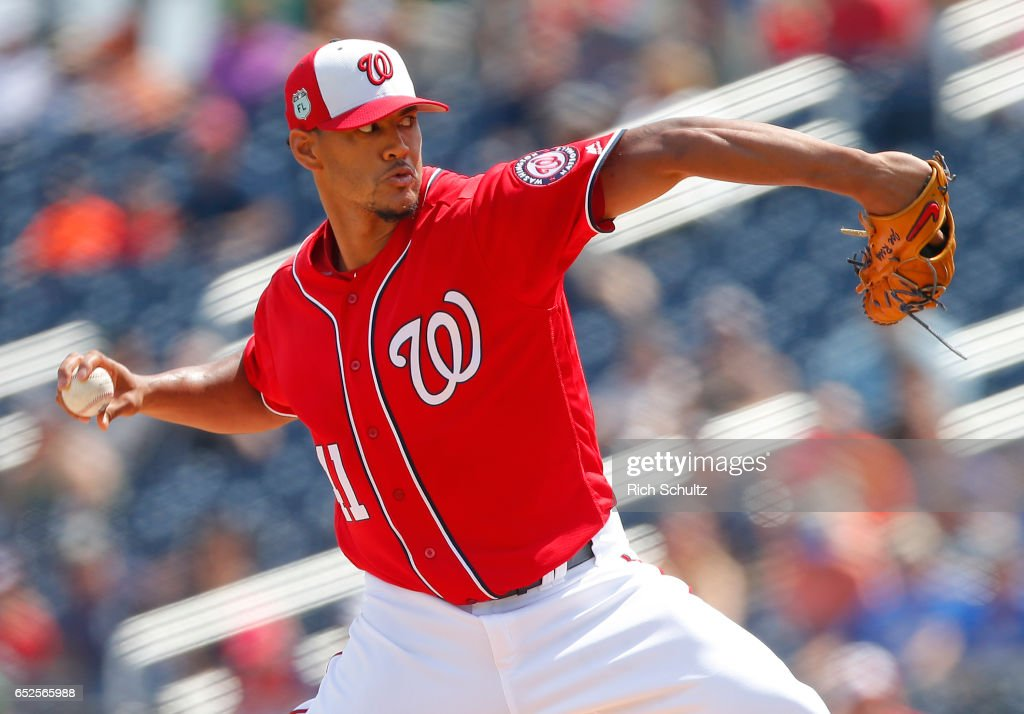Pitcher Joe Ross #41 of the Washington Nationals delivers a pitch against the Houston Astros during the first inning of a spring training baseball game on March 12, 2017 in West Palm Beach, Florida.