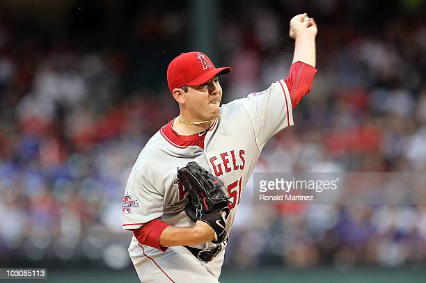 Pitcher Joe Saunders of the Los Angeles Angels of Anaheim throws against the Texas Rangers on July 22 2010 at Rangers Ballpark in Arlington Texas