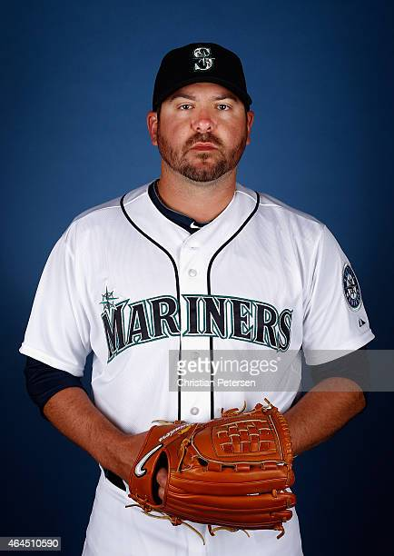 Pitcher Joe Saunders of the Seattle Mariners poses for a portrait during spring training photo day at Peoria Stadium on February 26 2015 in Peoria...