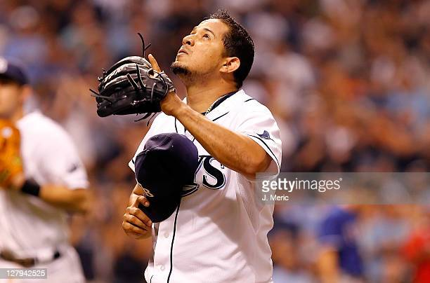 Pitcher Joel Peralta of the Tampa Bay Rays is thankful after pitching a scoreless ninth inning against the Texas Rangers during Game Three of the...