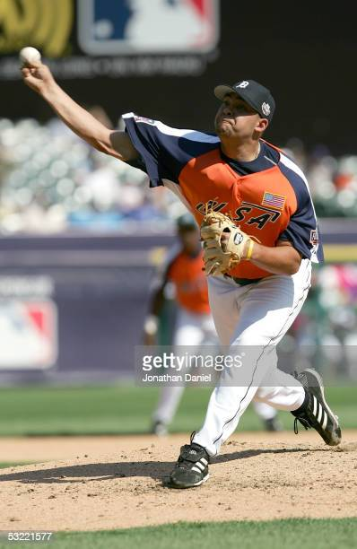 Pitcher Joel Zumaya of Team USA delivers a pitch against the World Team during the 2005 Major League Baseball Futures Game at Comerica Park on July...