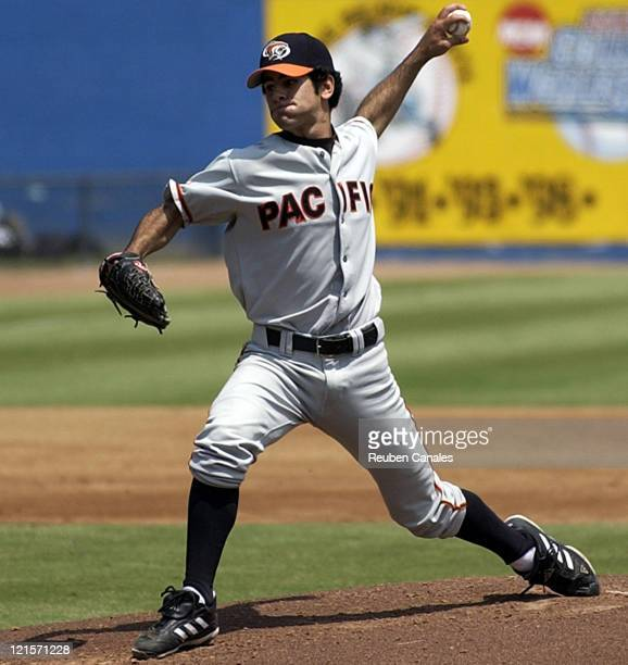 Pitcher Joey Centanni of the Univeristy of Pacific Tigers delivers to the plate as they were defeated 9 to 3 by the Long Beach State Dirtbags on...