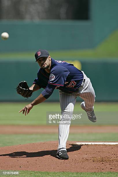 Pitcher Johan Santana of the Minnesota Twins in action against the Kansas City Royals at Kauffman Stadium in Kansas City Missouri on April 27 2006...