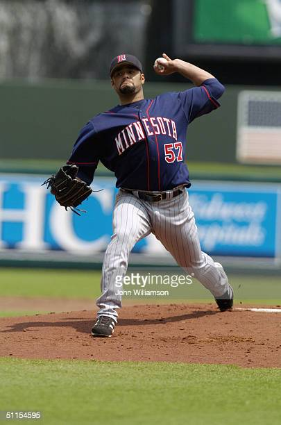 Pitcher Johan Santana of the Minnesota Twins pitches during the MLB game against the Kansas City Royals at Kauffman Stadium on July 17 2004 in Kansas...