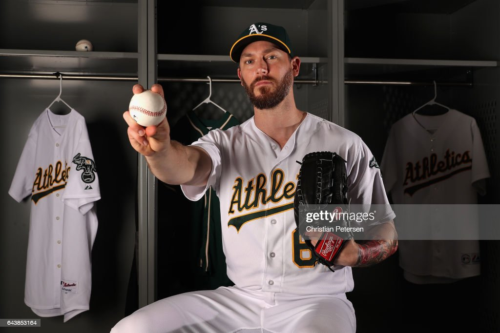 Pitcher John Axford #61 of the Oakland Athletics poses for a portrait during photo day at HoHoKam Stadium on February 22, 2017 in Mesa, Arizona.