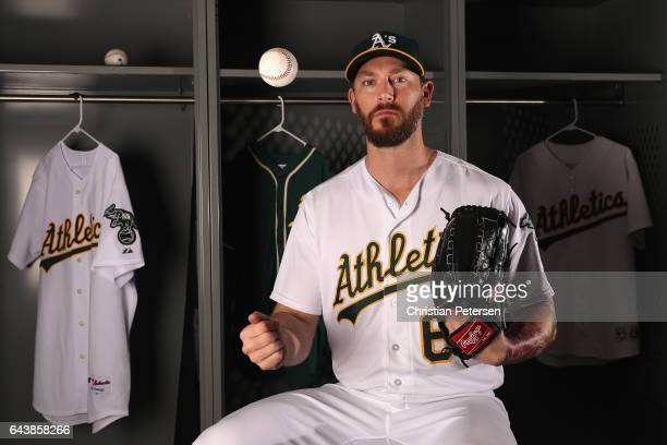 Pitcher John Axford of the Oakland Athletics poses for a portrait during photo day at HoHoKam Stadium on February 22 2017 in Mesa Arizona