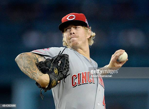 Pitcher John Lamb of the Cincinnati Reds throws against the Los Angeles Dodgers during the second inning at Dodger Stadium August 14 2015 in Los...