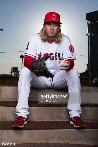 Pitcher John Lamb poses for a portrait during the Los Angeles Angels Photo Day on Feb 22 2018 at Tempe Diablo Stadium in Tempe Ariz