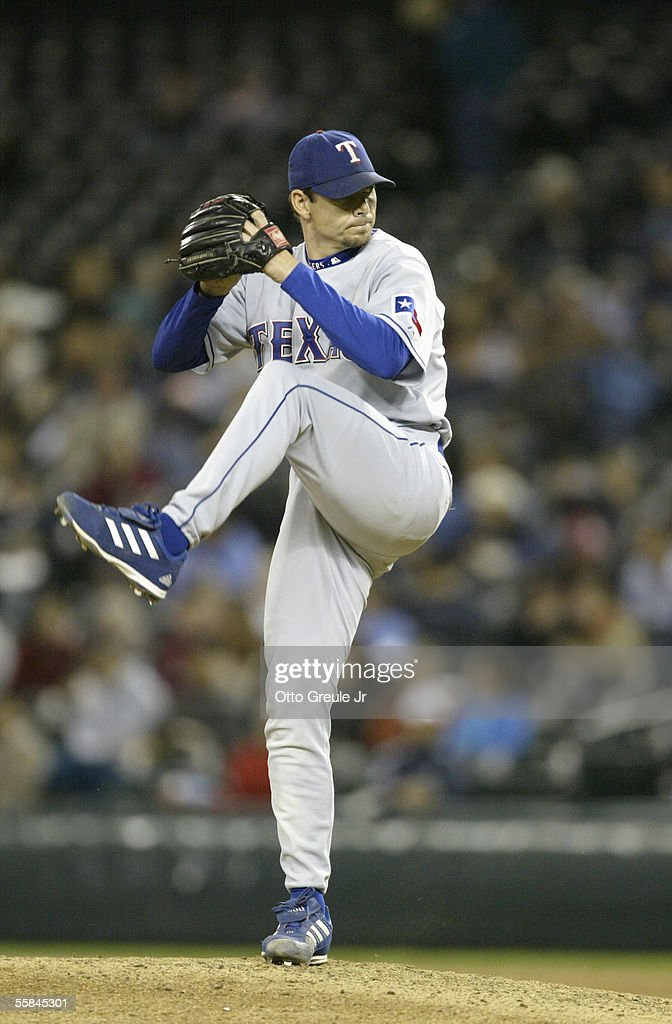 Pitcher John Wasdin #47 of the Texas Rangers winds up to pitch during the game against the Seattle Mariners on September 28 2005 at Safeco Field in Seattle Washington. The Rangers won 7-3.