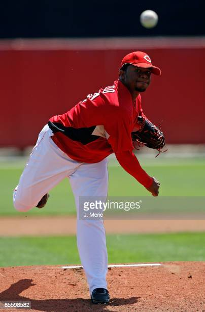 Pitcher Johnny Cueto of the Cincinnati Reds pitches against the Boston Red Sox during a Grapefruit League Spring Training Game at Ed Smith Stadium on...