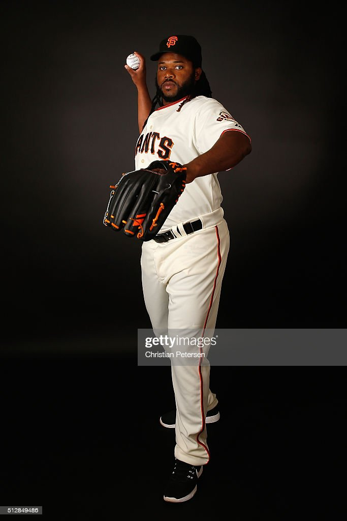 Pitcher Johnny Cueto #47 of the San Francisco Giants poses for a portrait during spring training photo day at Scottsdale Stadium on February 28, 2016 in Scottsdale, Arizona.