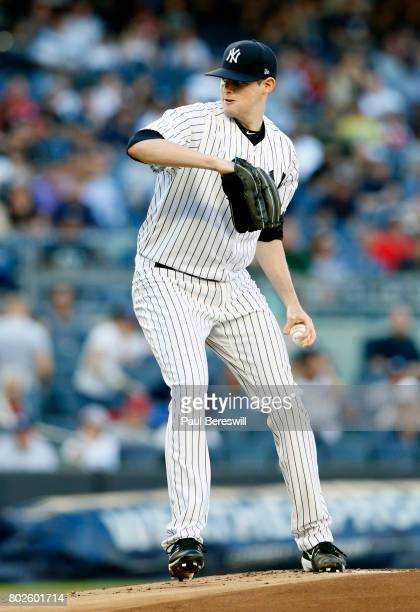Pitcher Jordan Montgomery of the New York Yankees pitches in an MLB baseball game against the Los Angeles Angels of Anaheim on June 21 2017 at Yankee...