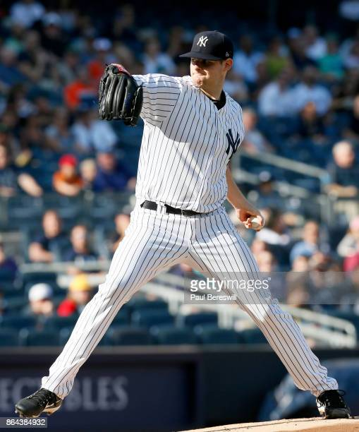 Pitcher Jordan Montgomery of the New York Yankees pitches in an MLB baseball game against the Baltimore Orioles on September 16 2017 at Yankee...